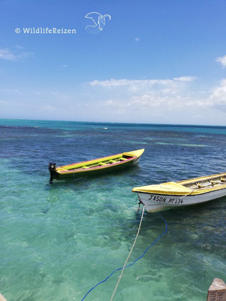 bootje op de Caribische zee
